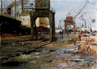 l'arrivé du bateau by nikolai galakhov
