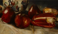 little plums at pauzette's, red satsuma's (2 works) by dean home