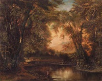 landscape with man fishing by leon d. pomarede
