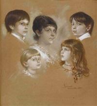 elise hirth mit ihren vier kindern by franz seraph von lenbach