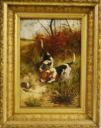 hounds chasing a rabbit by e.m. samson