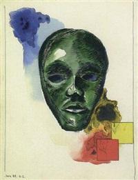 komposition mit afrikanischer maske by herbert ziebolz