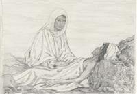 afrikanerin, ihren sohn pflegend by hans thoma
