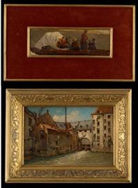 vue de l'écluse (+barque au coucher du soleil, smllr) by jean baptiste van moer