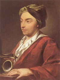 portrait of a gentleman, holding a microscope by domenico corvi