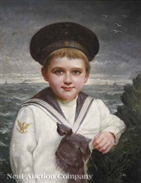portrait of a young boy in a sailor suit by a. van antra