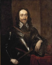 portrait of king charles i (1600-1649), half-length, in armour, holding a baton and resting his left hand on his helmet by sir anthony van dyck