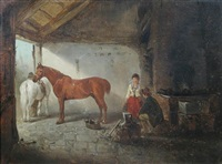 the blacksmith's shop, with a chestnut hunter and a grey pony by edward robert smythe