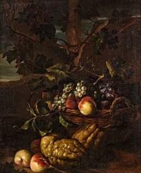 stilleben med fruktkorg i landskap by juriaen van streeck