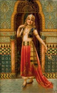 danseuse orientale au miroir by jan sedlácek