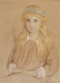 portrait of a girl with a blue headband by robert reid