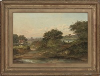 landscape with a view of a cottage and windmill by william j. (webbe) webb