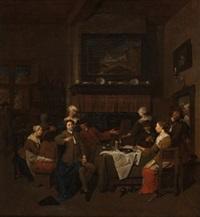 escena interior con personajes fumando y bebiend by jan baptist lambrechts