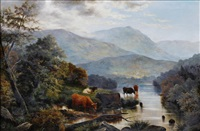 river landscape with cattle watering, and another, sheep on a moorside, probably in north wales (pair) by henry j. livens