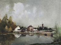 vue d'un village au bord de la lys by albert saverys