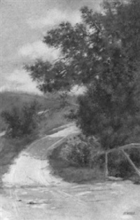 sunlit country road, spring by herbert wilbur hill
