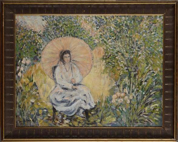 jeune femme à lombrelle dans un jardin by louis ritman