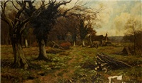 rural scene with homestead and trees by edward wilkins waite