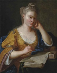 portrait of a lady, half-length, in a yellow dress and blue wrap, seated at a writing table, a quill in her right hand by anton graff