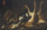 dead hares, pheasants, ducks and birds, with a rooster and pigeons by jan fyt