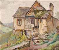 figure on cottage stairs by lucien bleyfus
