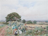 gathering wild roses, near blackwell, carlisle by thomas bushby