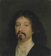 portrait of a gentleman, bust-length, in black robes and a white shirt by sir peter lely