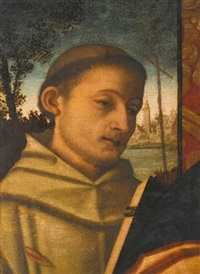 saint francis and a female saint (2 works) by francesco rizzo da santacroce