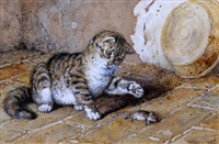 the christmas basket (+ untitled (cat and mouse); pair) by frank paton