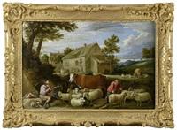 paysage avec un jeune berger jouant du flageolet entouré de son troupeau by david teniers the younger