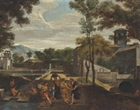 an italianate landscape with classical figures conversing in the foreground by nicolas poussin