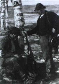 zwei jager unter birken by emanuel hegenbarth