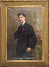 ritratto di gentiluomo con garofano all'occhiello by rinaldo agazzi