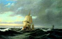 marine med skibe på havet by emile valentin