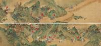 五侠出征 手卷 绢本 by wang zhenpeng