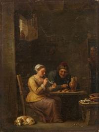 zwei bauern und ein hund in der stube by david teniers the elder