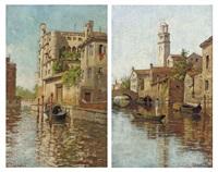 a gondolier on a venetian backwater (+ a gondola moored on a venetian canal; pair) by romolo tessari