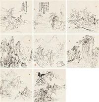 山水 (album of 8) by huang binhong