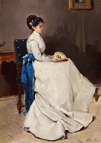 interior with a lady in a greyish dress decorated with a blue ribbon. she is holding a fan by henri rené gaume