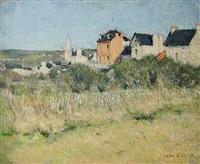 französische landschaft mit dorf by andré gagey