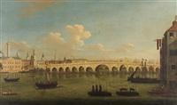 figures boating on the thames before london bridge by samuel scott
