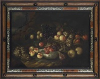 grapes, apples and oranges in a wicker basket, with pears, figs and peaches in a porcelain bowl, on a bank in a landscape by jan pauwel gillemans the elder