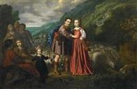 rebecca und eliziër (genesis 24: 11-21) by dirck dircksz van santvoort