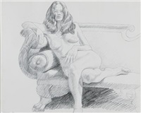 model on federal sofa by philip pearlstein