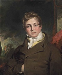 portrait of a gentleman, half-length, in a brown coat and cravat, before a red curtain, a landscape beyond by thomas lawrence