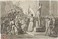 figura femminile davanti al crocifisso arringa una moltitudine di combattenti by pietro benvenuti