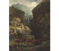 deer in a highland landscape (collab. w/aster corbould) by joseph adam
