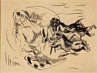 une femme, deux enfants et un chien by jules pascin