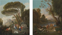 italianate landscapes with classical figures and herders beside fountain (pair) by jan frans van bloemen