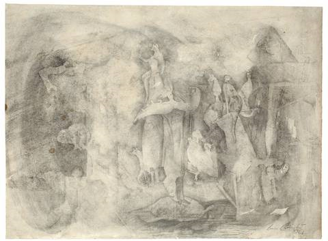 tuesday pencil sketch verso by leonora carrington